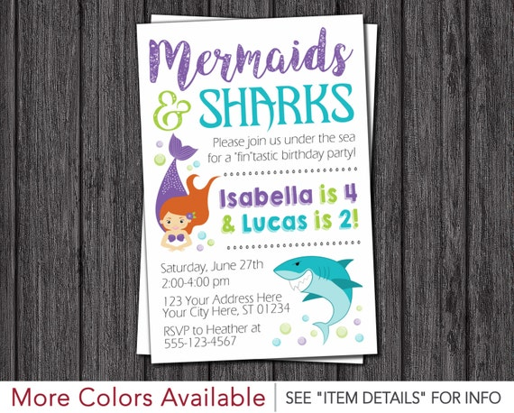 Sharks and Mermaids Birthday Invitation Mermaid and Shark Joint