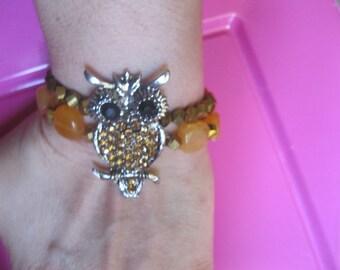 Bracelet amber rhinestone OWL elastico
