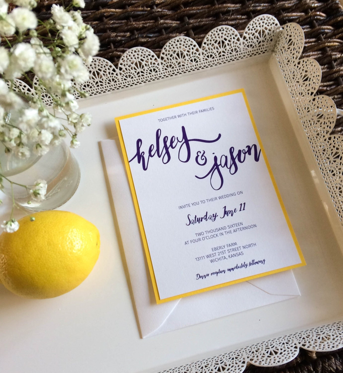 Yellow And Purple Wedding Invitation With Silver Glitter Belly