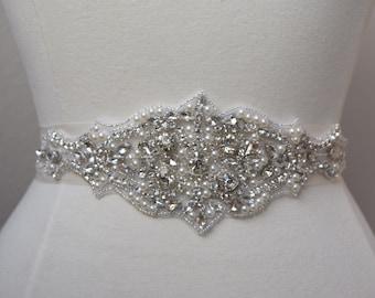 Crystal Rhinestone Bridal Belt on Satin Sash- Bridal Belt-  embellished Belt- bridal sash - wedding sash- Wedding Accessories- EYM B068