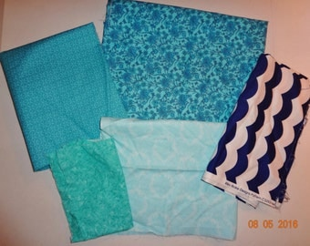 Pretty Designs in Blue - Lot of Cotton Fabric Pieces