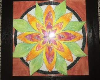 Framed painted flower on canvas