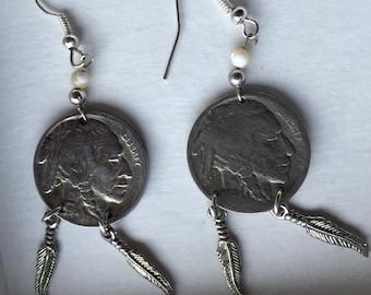 Buffalo Nickel Earrings -- 288