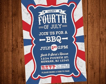 Vintage Inspired 4th of July Party Invite (Printable)