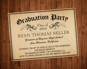 Diploma Inspired Printable Graduation Invitation (Parchment and White Available!)