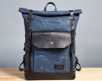 Waxed canvas backpack - Navy blue canvas leather day pack - Womens / Mens  backpack -  Waxed cotton rucksack - Hipster backpack