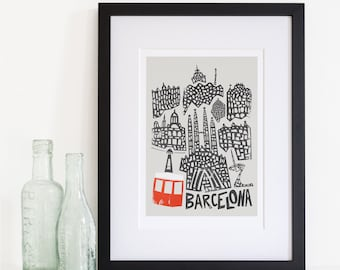 Barcelona Cityscape Print, Mid Century Modern Style, Architecture Art, Poster City Print, Iconic Buildings, Living Room Wall Art, Home City