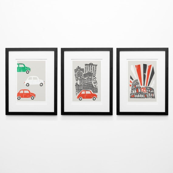 Set of 3 Rome Prints, Wife Gift, Boyfriend Gift, Romantic Gift, Rome Cityscape, Illustration Prints, Gallery Wall, Birthday Gift, Cars Print
