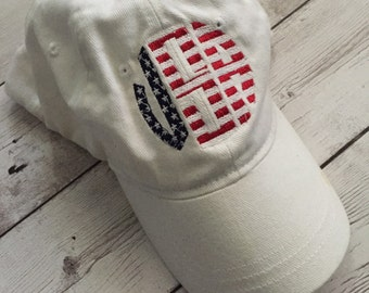 Monogram Baseball Cap-Patriotic