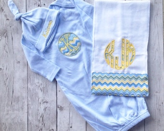 Infant Layette Monogram Set - infant cap, gown and burp cloth