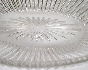 Vintage Cut Glass Plate,Hazel Glass,  Panel Glass,  Serving Plate with Star Pattern
