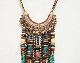 Multi Colored Rainbow Cascade Bronze Necklace / Bib Necklace