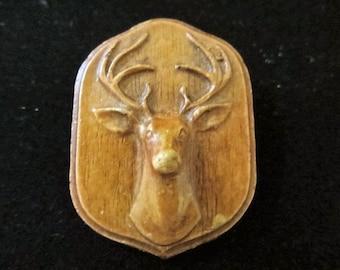 Classic SyrocoWood deer head brooch 3 dimensional stag head syroco wood pin