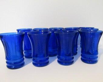 Vintage Set of 13 Cobalt Blue Wheat Feather Glasses