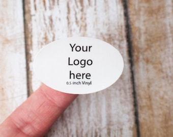1 inch x .5 inch oval sticker printing vinyl laminated waterproof label, sticker seal, sticker printing, customized sticker, branding