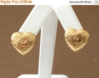 Clearance 50% Off Gold Tone Heart Earrings