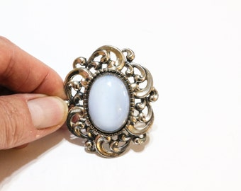 Danecraft Sterling Brooch or Pendant, Pale Blue Moonstone, Repousse Sterling Silver, Victorian Revival Brooch, 1950s, Vintage Jewelry