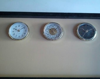 The Original  Time Zone Chalkboard Clock, With 3 or 4 Clocks, Tan Chalkboard  With Black Frame