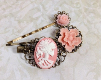 Pink She Skull And Sweet Pink Rose Hair Clips