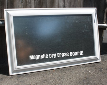 Exposed Steel Long & Narrow MAGNET Board - 18''x26'' Framed MAGNETIC Board Rustic Bulletin Board in White Frame - Kitchen or Restaurant Menu