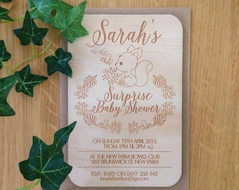Baby shower invitation, rustic. Forest animals design.  Laser Etched Wooden Invitation. A6 size