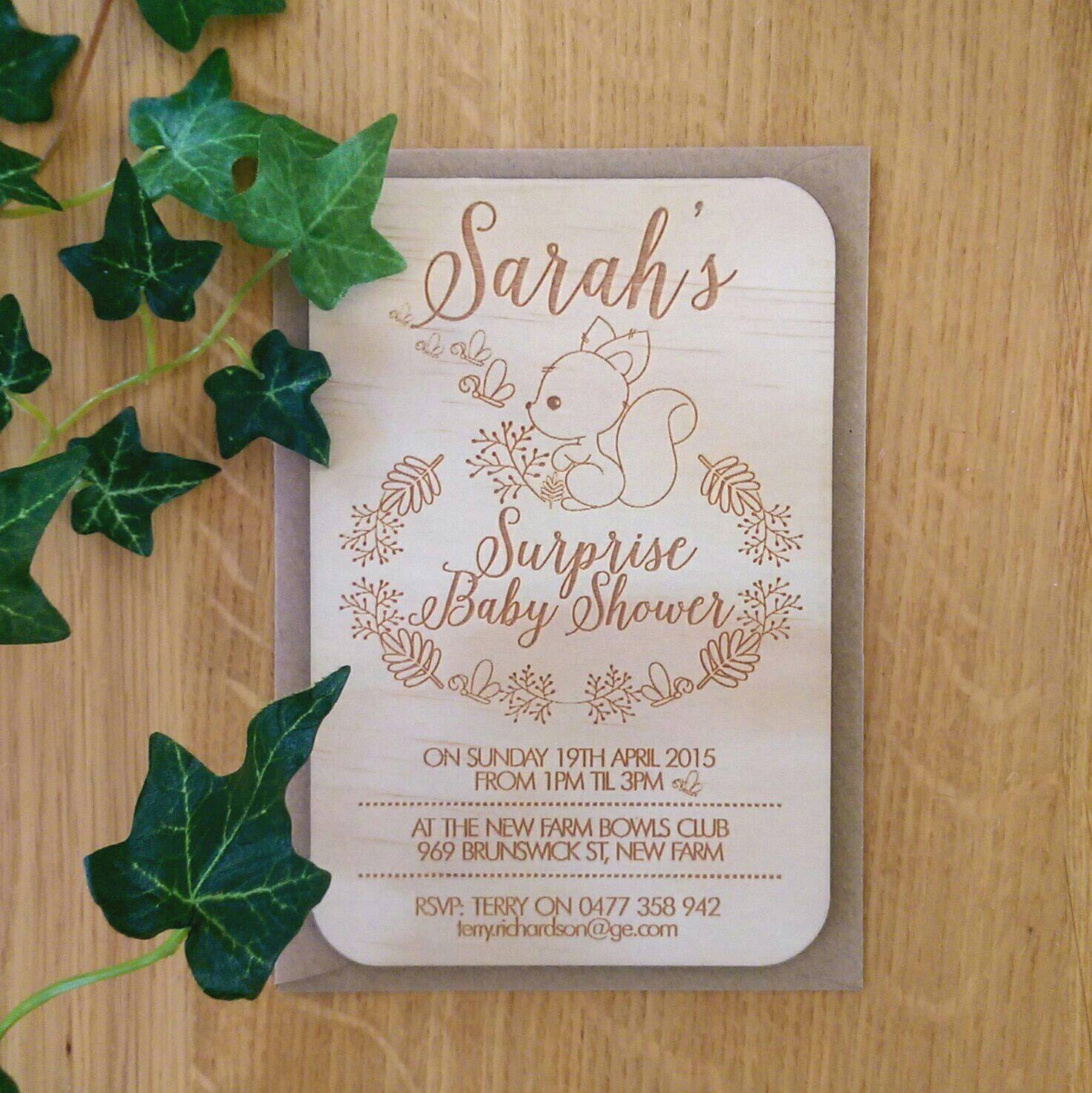 Baby shower invitation rustic Forest animals design Laser