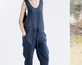 Loose Linen jumpsuit / Charcoal washed  linen jumpsuit / Washed linen overall