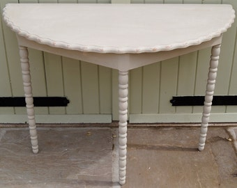 Vintage French Demi Lune Console in ANNIE SLOAN - Shabby Chic