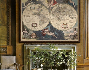 "Nude World Map 1654, Baroque map of the World with nude figures, 3 sizes up to 48x40"" (120x100cm) Historical map - Limited Edition of 100"