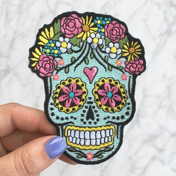 Sugar Skull Iron On Patch - Embroidered Applique – Day of ...