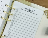 Personal Wish List printed planner insert - checklist - lined paper - college ruled - #248