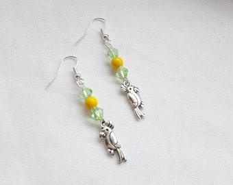 Parrot earrings, tropical bird jewellery,