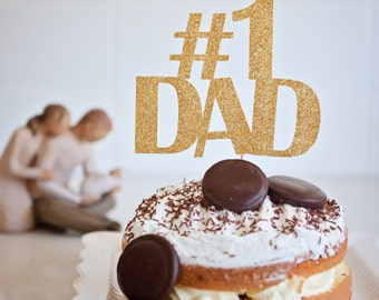 Fathers Day Cake topper, # 1 DAD cake topper,