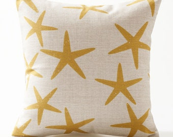 Decorative pillow cover/yellow starfish cushion cover/watercolor pillow throw/pillow sham