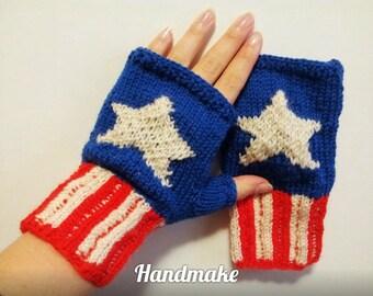Knitted mittens \ mittens Captain America\ Marvel Comics\ Avengers\ fingerless gloves \ Marvel \ mitts handmade\blue