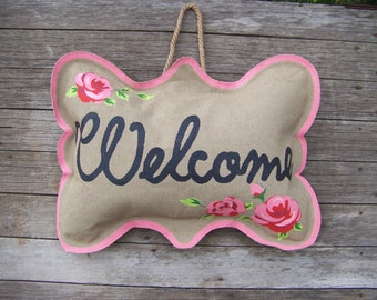 Welcome Sign Burlap Pillow Door Hanger Floral Home Décor