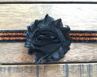 Halloween Headband, Orange and Black Glitter Elastic, Black Shabby Flowers