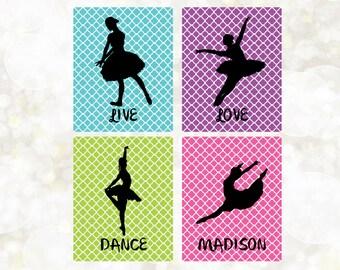 Ballet Digital Prints - 4 Prints - Custom Name - Dance Digital Prints - Dance Wall Print - Dance Decor - Dance Bedroom DIY - You Print