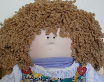 Adorable Little Souls Soft Sculptured Doll with Real Child's Clothes - Curly Blonde Hair