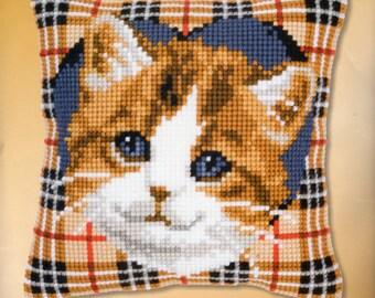 Cat On Tartan Cushion Front CHUNKY CROSS STITCH Kit Brand New