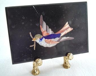 Italian pietra dura small Song Bird plaque