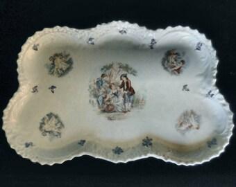 Victorian Porcelain Dresser Tray with Cherubs