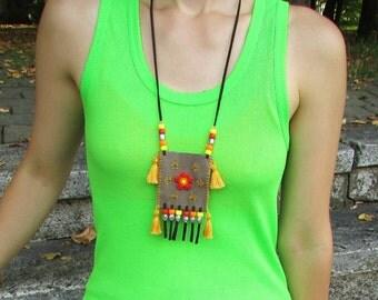Original handmade bag necklace with flowers, pendants and tassels, Amulet bag necklace, Gem stones bag necklace, Medicine bag necklace