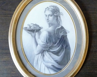 "Antique Framed Victorian Etching Lithograph Lady with Doves 15 3/4"" x 12 1/2"" 40cms x 32cms"