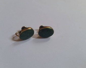 Vintage Green Stone Gold Earrings 12k Filled