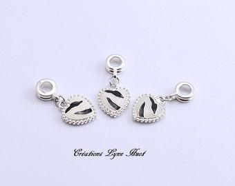 1 Charm heart shape for your charm bracelet - European Bracelet - ( C-119 )