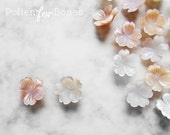2pcs ∙ 8mm | Seashell Sakura Beads Flower Natural Mother of Pearl Cherry Blossom Earring Jewelry Supplies
