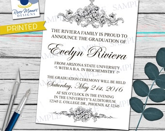 Printable Elegant and Formal Graduation Announcement and or Invitation