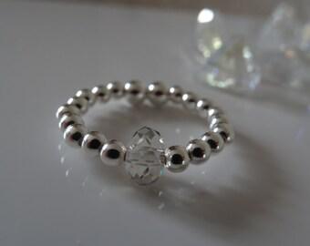 beautiful silver stretch elastic ring with swarovski crystal 925
