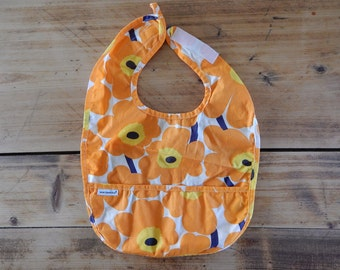 Marimekko Baby Bib Baby Yellow Orange Unikko Bib Cotton Baby 100% cotton 6-12 month